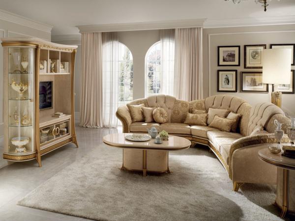 κλασσικός καναπές γωνία και έπιπλο τηλεόρασης
