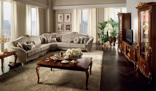 κλασσικός γωνιακός καναπές και έπιπλο τηλεόρασης με βιτρίνες καρυδί