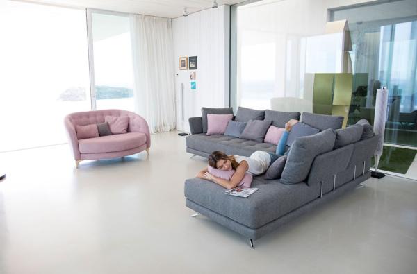 γκρι γωνιακός πολυμορφικός καναπές
