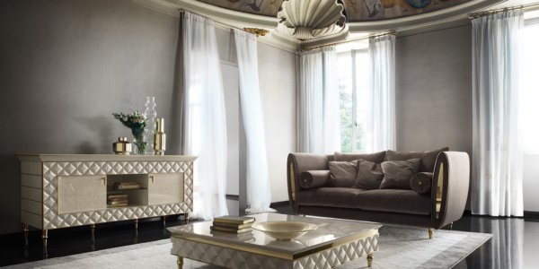 καναπές με έπιπλο τηλεόρασης σε ιβουάρ χρυσό
