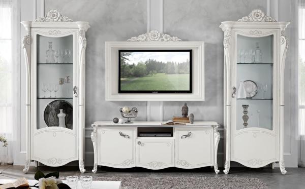 έπιπλο λευκό τηλεόρασης νεοκλασικό με βιτρίνες