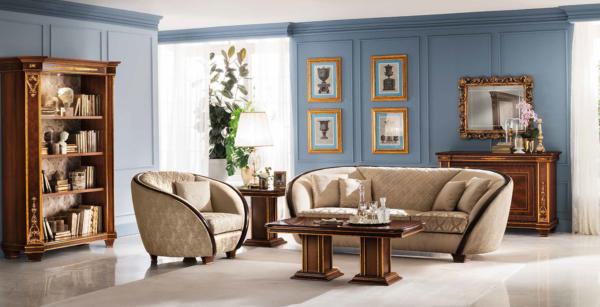 καναπέδες καμπύλοι κλασσικοί με βιβλιοθήκη