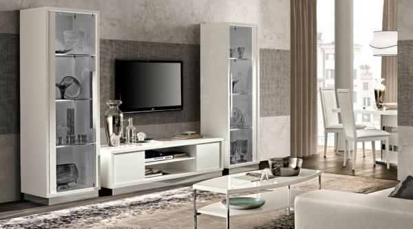 λευκό έπιπλο τηλεόρασης με βιτρίνες