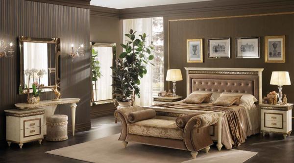 κρεβάτι μπεζ χρυσό με τουαλέτα