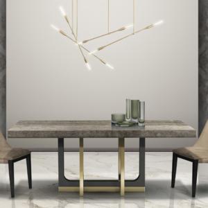 μαρμάρινο ιταλικό τραπέζι με χρυσή μεταλλική βάση