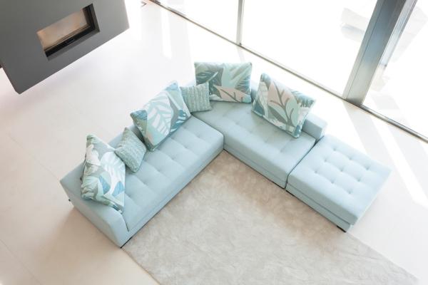 καναπές γωνία χρώμα μέντας