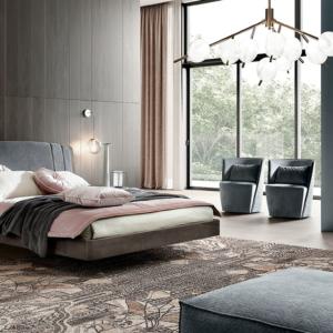γκρι κρεβάτι με οβάλ κομοδίνα και τουαλέτα ιταλικό