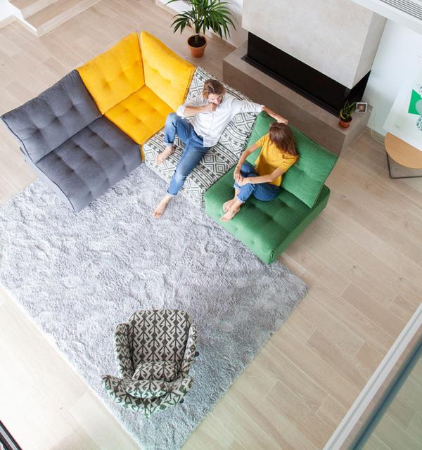 καναπές σε κομμάτια με relax