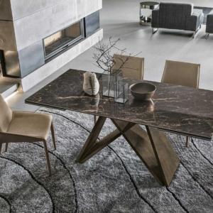 κεραμικό τραπέζι καφέ χρώμα με προεκτάσεις