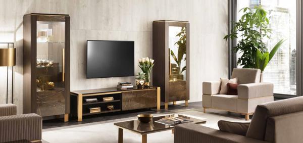 έπιπλο τηλεόρασης με βιτρίνες σε φινίρισμα μαρμάρου με χρυσό