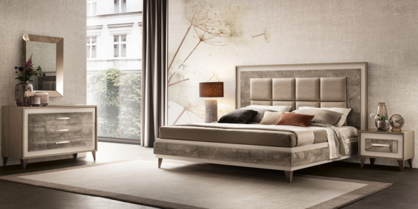κρεβάτι με ύφασμα και φινίρισμα μαρμάρου