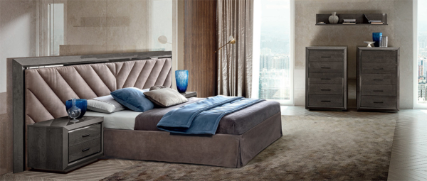 κρεβάτι γκρι με ύφασμα